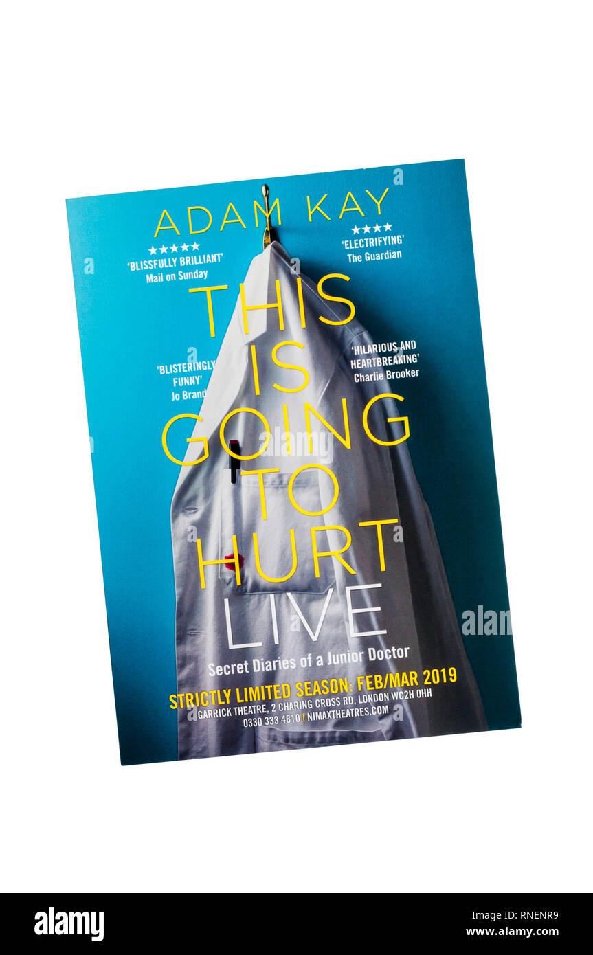 Promotional flyer for This Is Going To Hurt Live with Adam Kay at the Garrick Theatre. - Stock Image