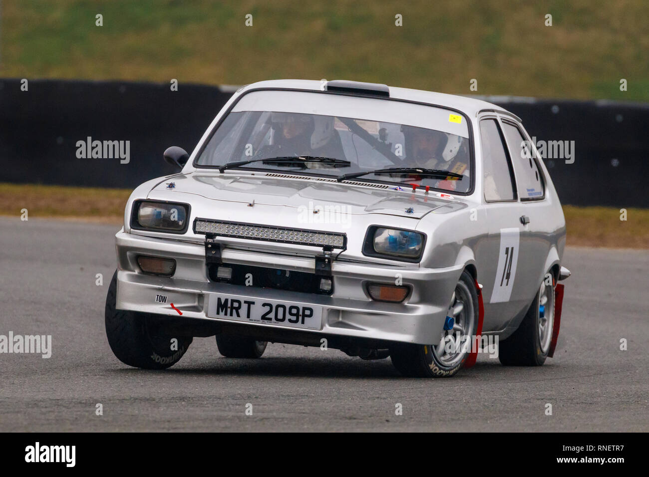 Vauxhall Chevette, MRT 209P, with driver Mark Wade and co-driver Jonathan Williams during the 2019 Snetterton Stage Rally, Norfolk. - Stock Image