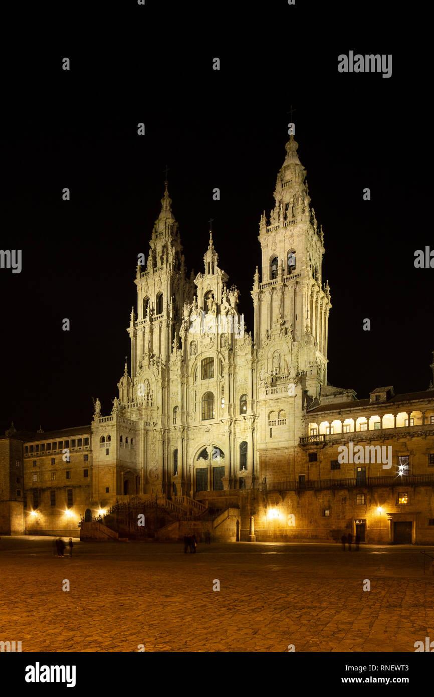 Santiago de Compostela Cathedral view at night. Cathedral of Saint James pilgrimage. Obradoiro square, Galicia, Spain Stock Photo