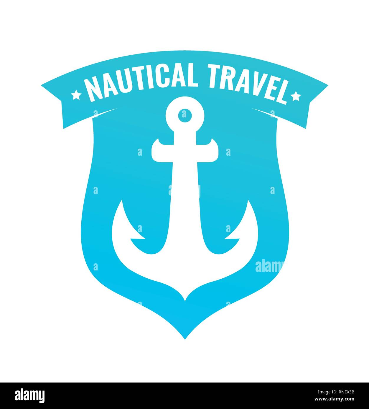 Badge shaped Shield with Anchor of Ship Stock Vector