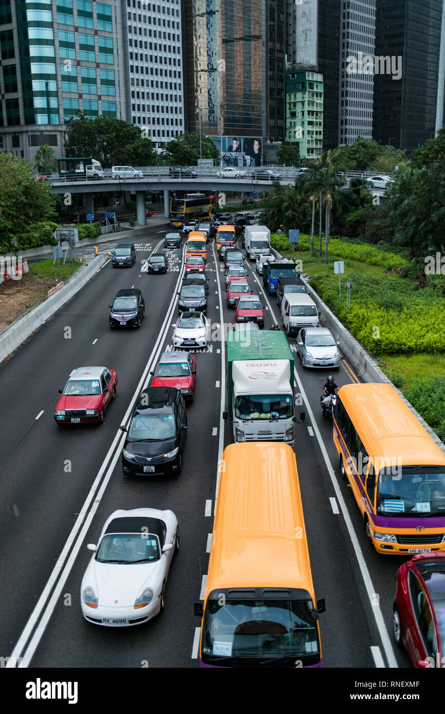 Morning traffic in Hong Kong - Stock Image