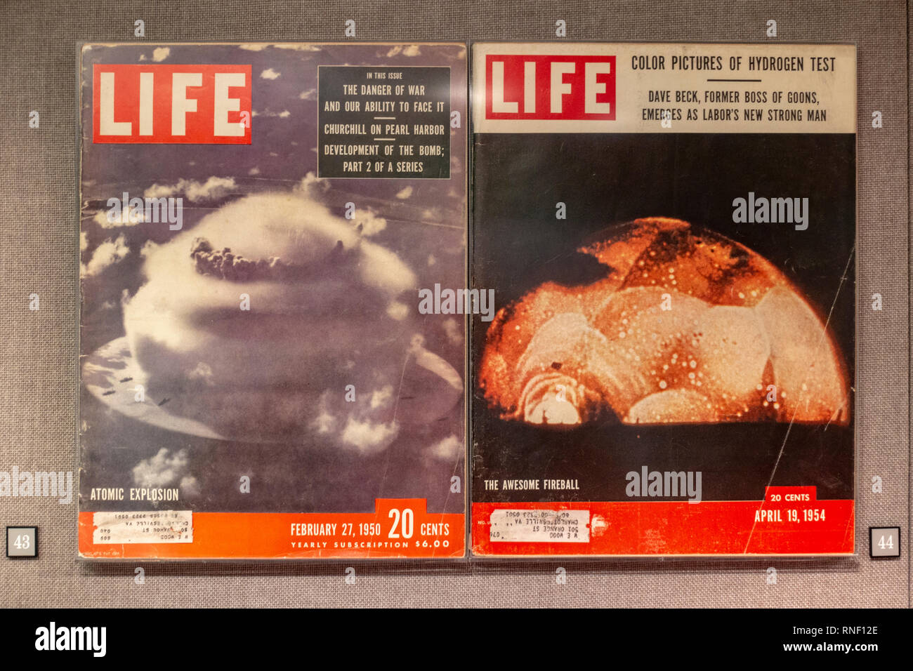 Life Magazine editions linked to bomb testing from 1950 and 1954,  Nevada, United States. - Stock Image