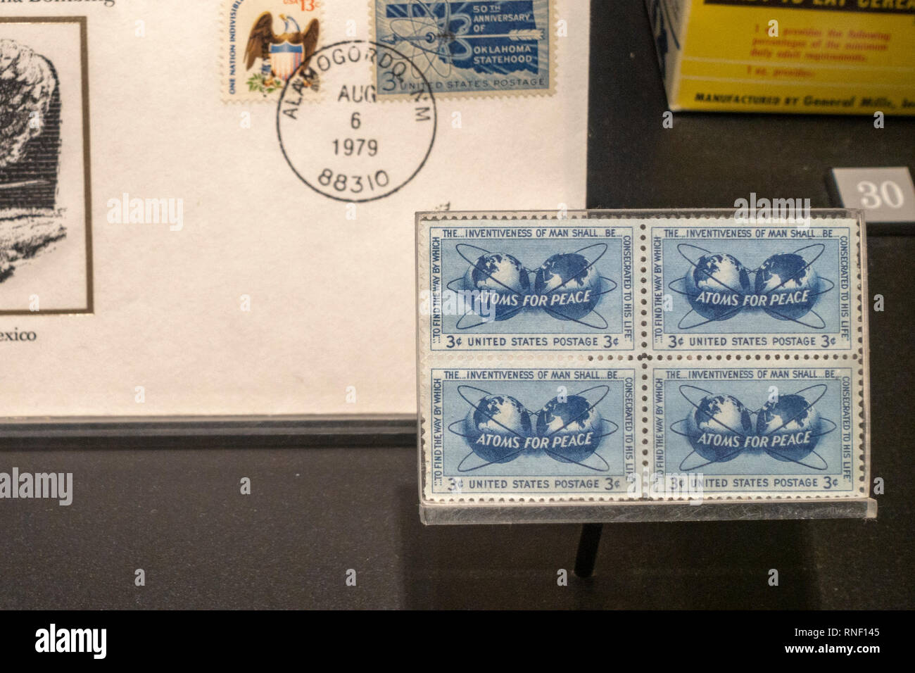3 cent 'Atoms for Peace' stamps from 1955, Nevada, United States. - Stock Image