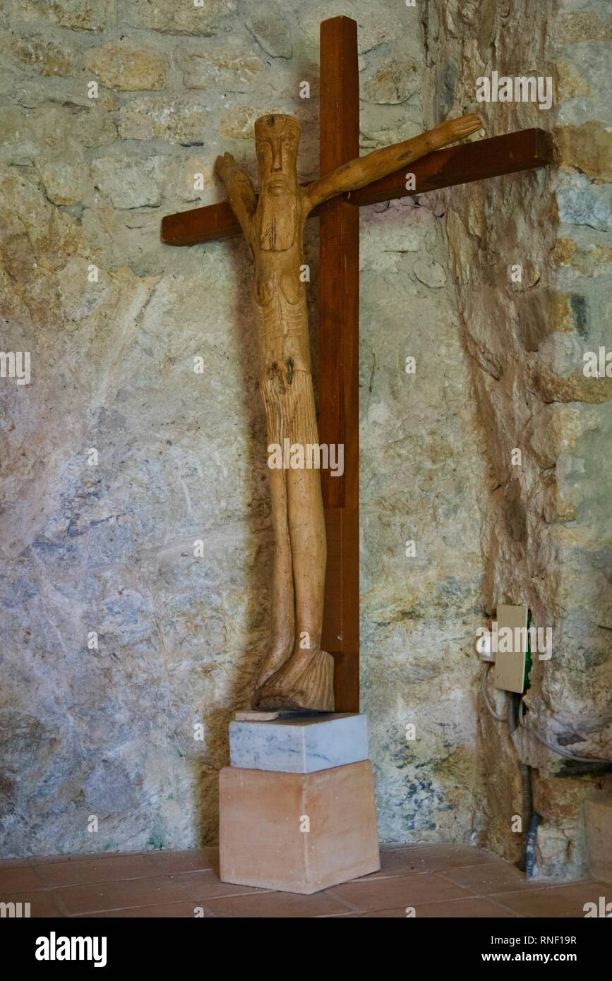 Closeup of a unique wooden crucifix - Stock Image