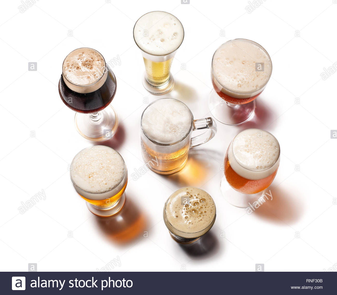 Beer Glasses isolated on white background. Top view - Stock Image