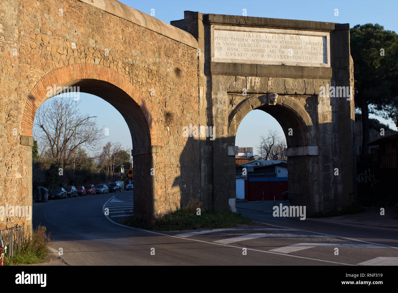 Porta Furba and the Felice Aqueduct (1585 AD) - Rome - Stock Image