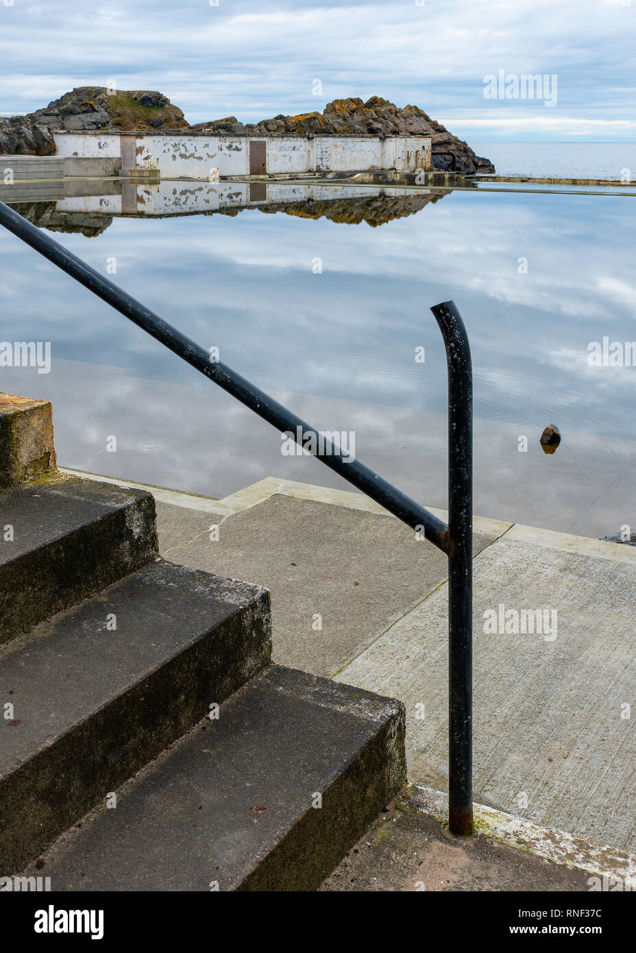 A View Of Concrete Steps And A Broken Metal Railing Outside Tarlair Swimming Pool Now Abandoned And Derelict Near Macduff Aberdeenshire Scotland Stock Photo Alamy