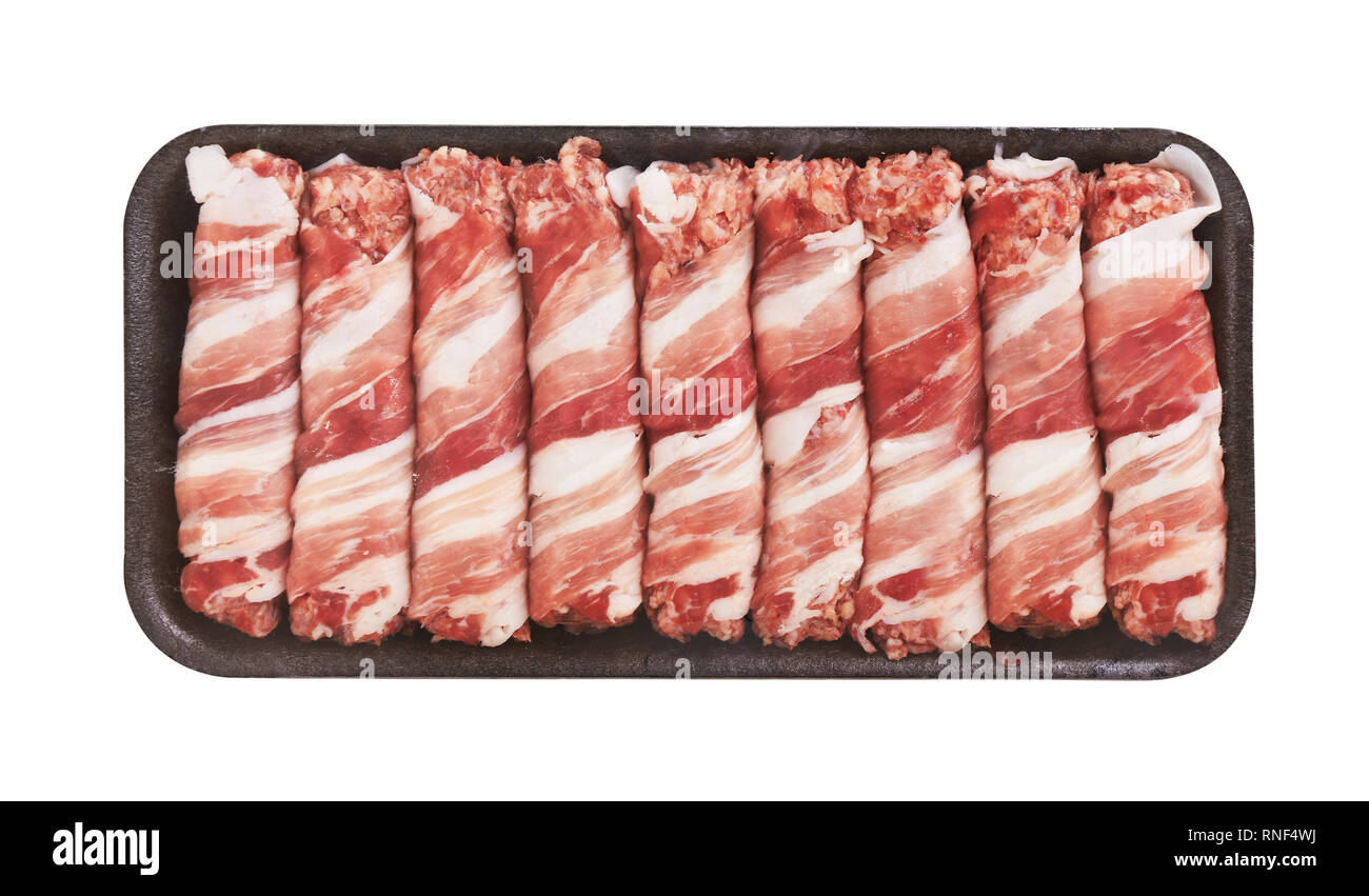 Meat rolls with bacon in package, isolated on white - Stock Image