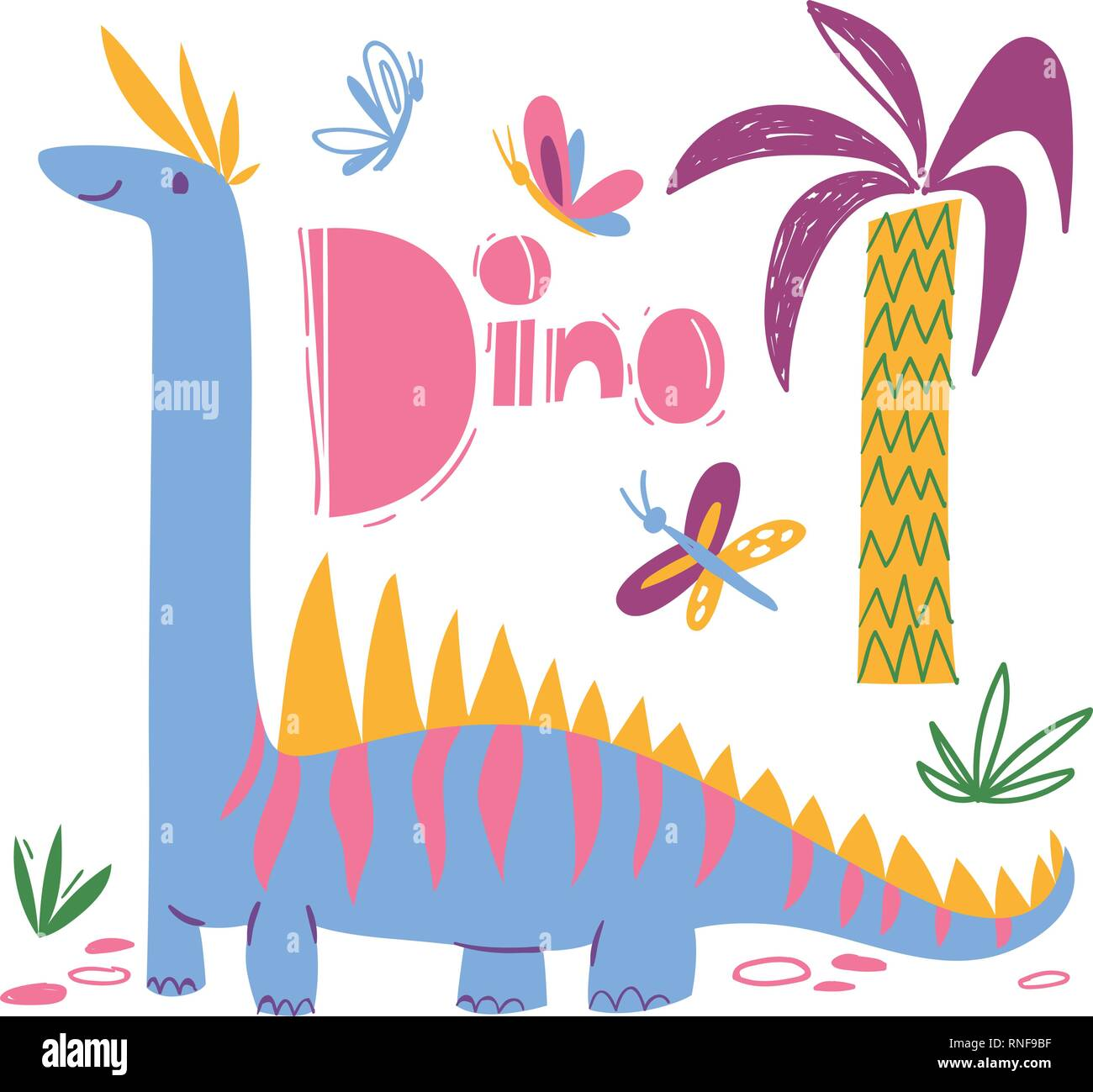 Cool dino poster with funny dinosaur and dino text - Stock Image