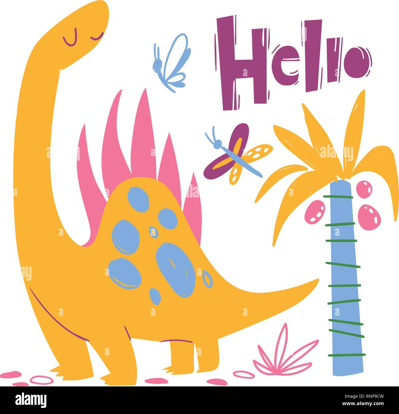 Cool dino poster with funny dinosaur and hello - Stock Image