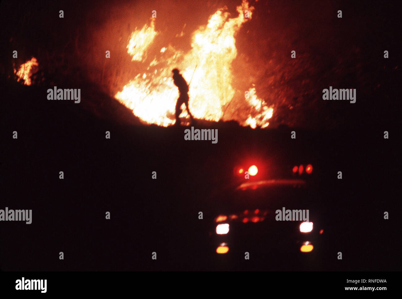 Night view of a firefighter silhouetted against a raging fire during the four-day Panorama brush fire, which started in canyons north of town and has been whipped out of control by 40-50 mph winds. Stock Photo