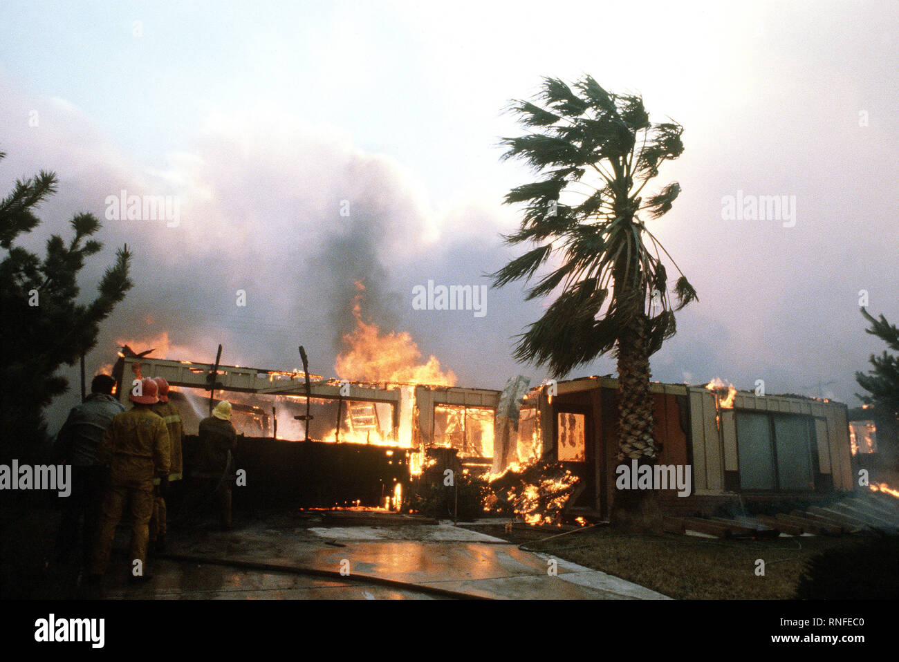 Firefighters from Norton Air Force Base battle a house fire during the four-day Panorama brush fire, which started in canyons north of town and has been whipped out of control by 40-50 mph winds. Stock Photo