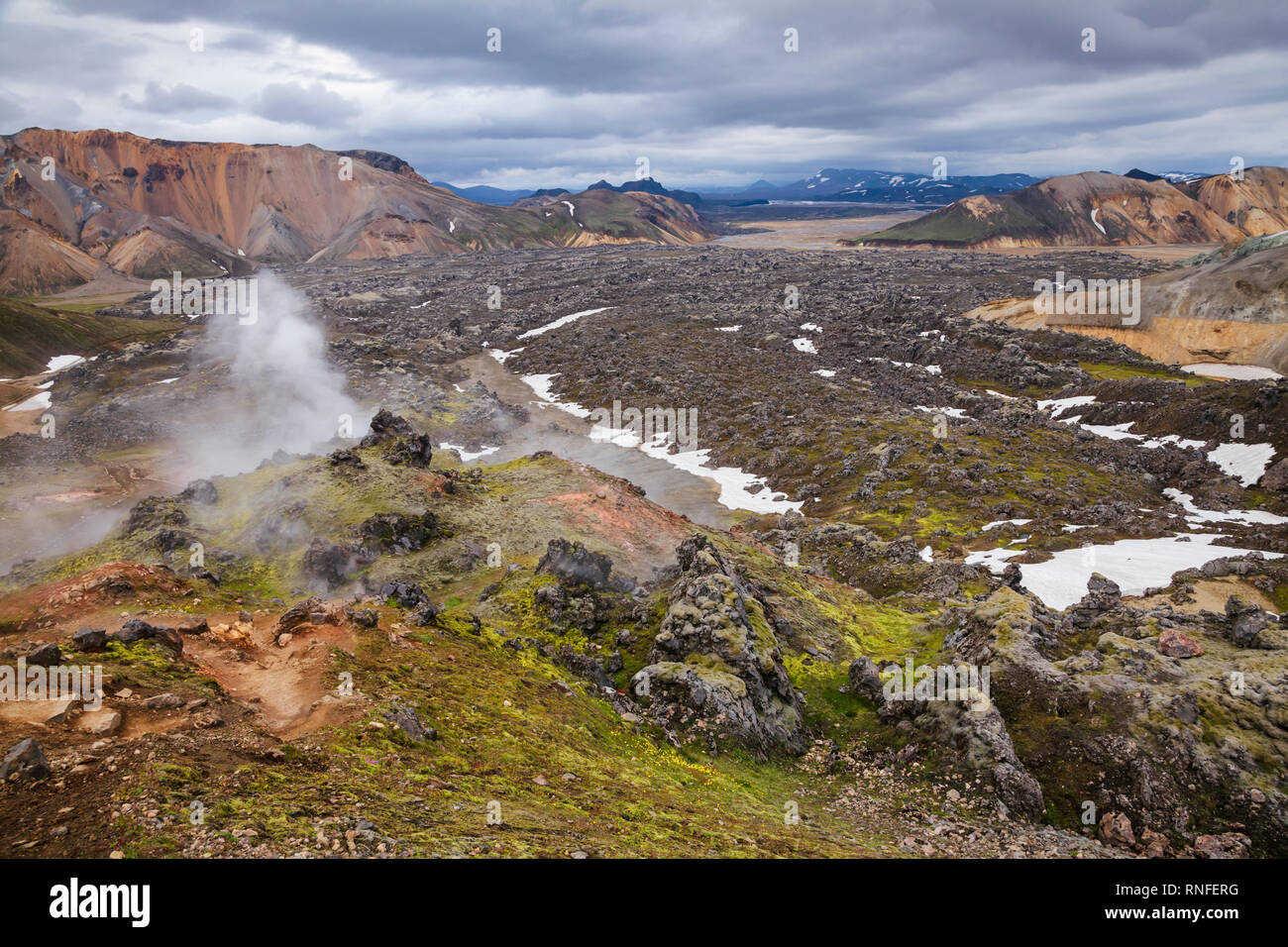 Laugahraun lava field and Landmannalaugar, a natural park in the Fjallabak Nature Reserve, famous for its hiking trails through stunning landscapes of - Stock Image