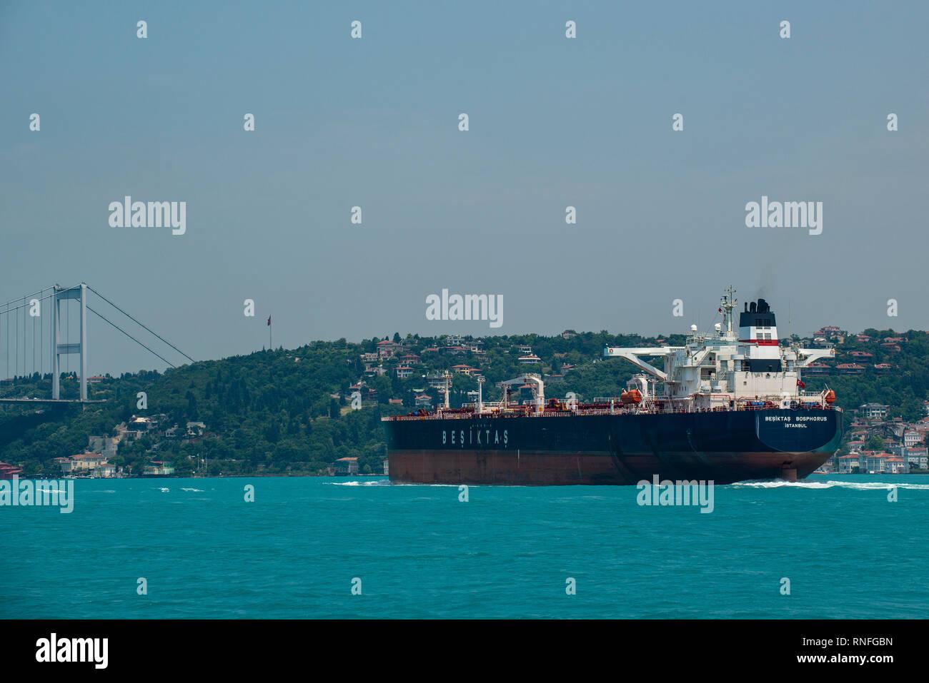 Crude oil tanker Besiktas Bosphorus on the Bosphorus, Istanbul, Turkey. - Stock Image