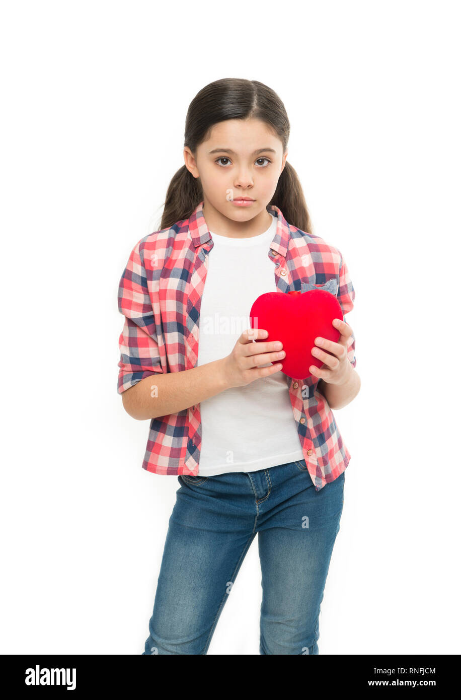 Love and romantic feelings concept. Red heart attribute of valentine. Heart gift or present. Me to you. Greeting from sincere heart. Girl cute child hold heart symbol love. Celebrate valentines day. - Stock Image