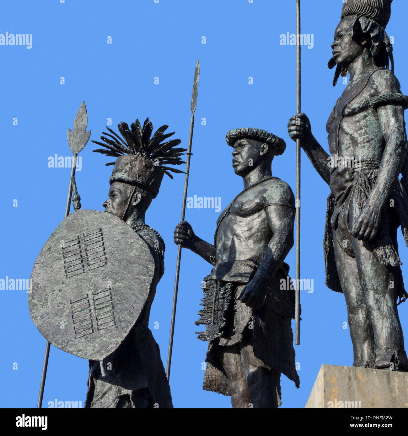 Sculpture group The Congo, I Presume by Tom Frantzen at the AfricaMuseum / Royal Museum for Central Africa at Tervuren, Flemish Brabant, Belgium - Stock Image