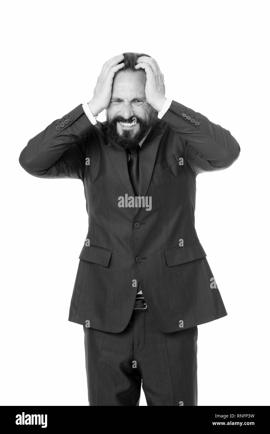 Business man suffer headache hold hand head while stand white background. Businessman feel pain headache stressful day. Stressful business life. Aggressive mad man shout. Aggression causes headache. - Stock Image