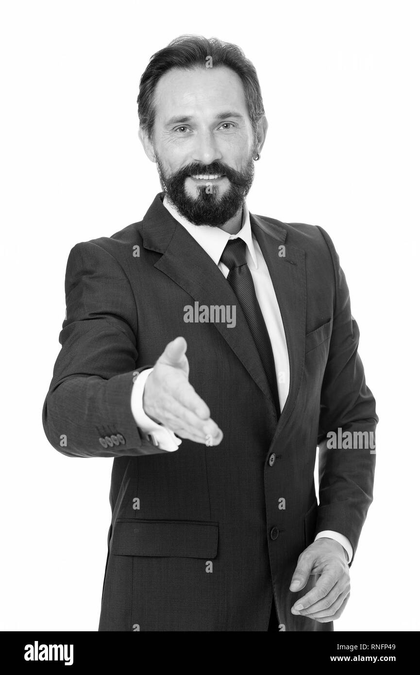 Businessman glad to meet you. Businessman bearded handsome entrepreneur. Successful businessman concept. Customer service tips improve business. Businessman formal suit mature man isolated white. - Stock Image