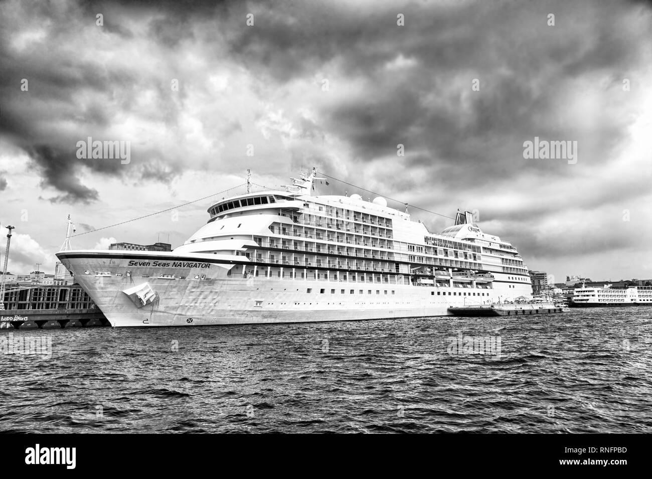 Santarem, Brazil-December 24, 2015: Large luxury cruise ship Seven Seas Navigator anchored at sea at the port of Santarem, Brazil at cloudy day - Stock Image