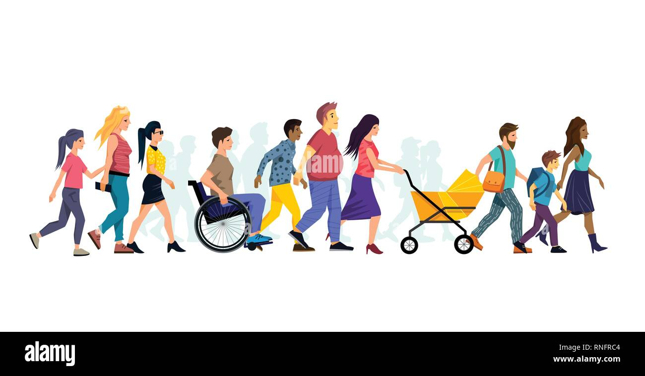 A diverse collection of various people characters walking. Vector illustration. - Stock Image