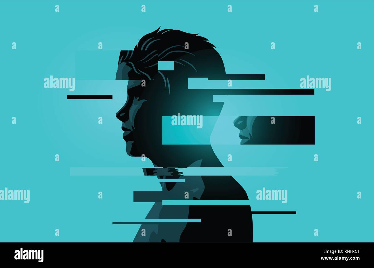 Image Of a Man With Glitch Fragments.Mental health issues. Anxiety, mindfulness and awareness concept. Vector illustration. - Stock Vector