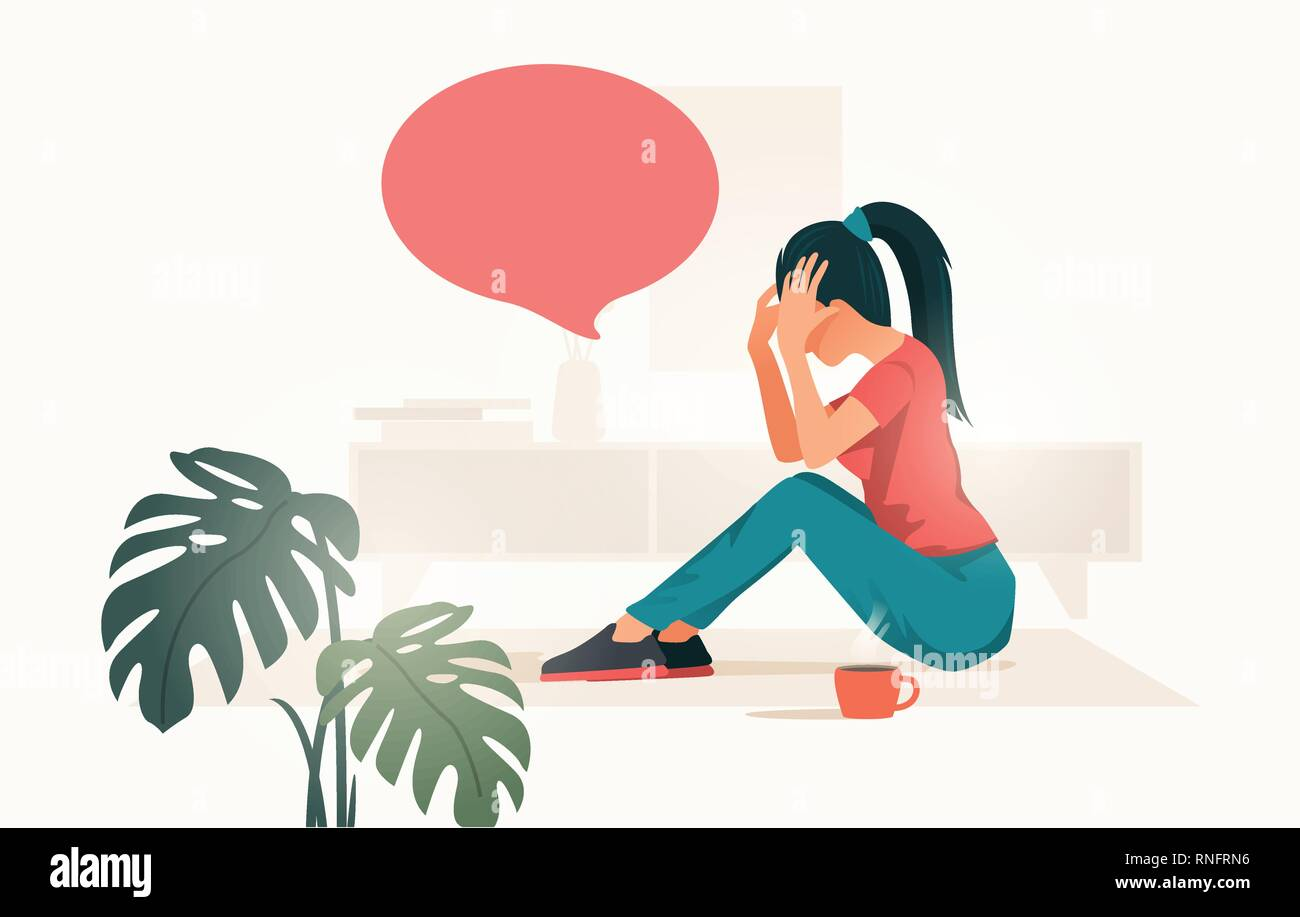 An upset and stressed young women at home holding her head. people vector illustration. - Stock Vector