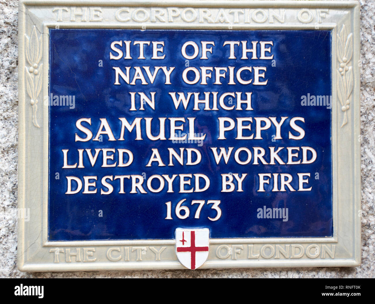 LONDON PLAQUE OR SIGN INDICATING SITE WHERE PEPYS LIVED AND WORKED - Stock Image