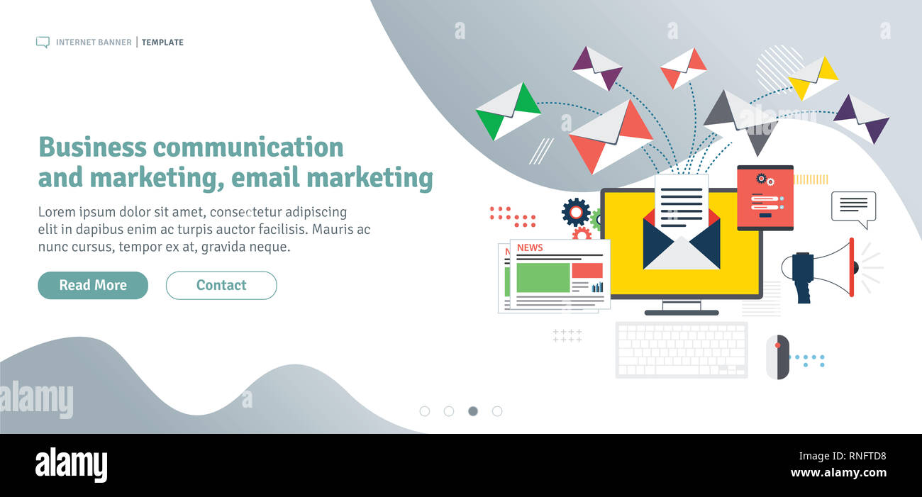 Business communication and email marketing. Send or receive email, digital marketing, analytics and strategy. Template in flat design for web banner o - Stock Image
