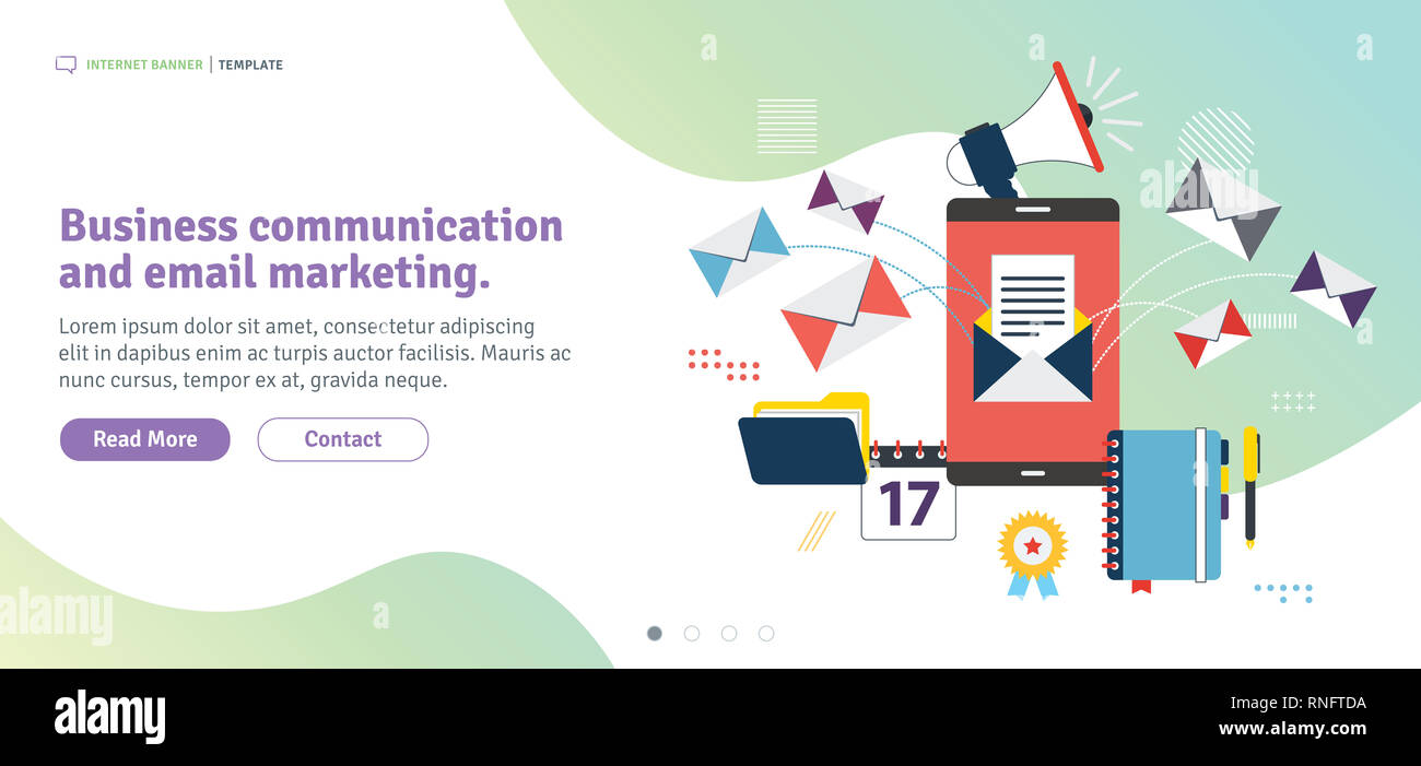 Business communication and email marketing. APP inbox, send or receive email in smartphone .Template in flat design for web banner or infographic in v - Stock Image