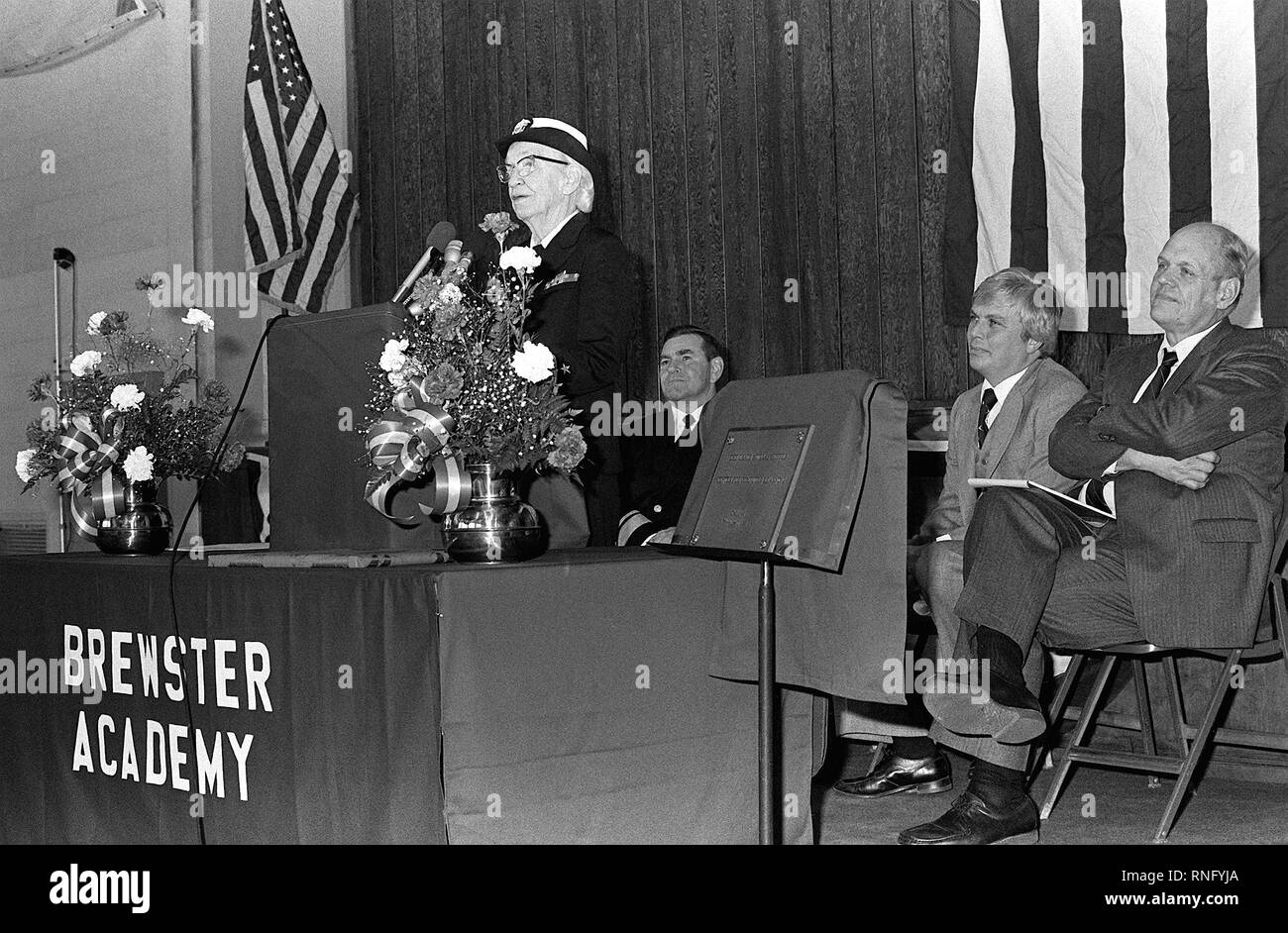 1983 - Capt. Grace Murray Hopper speaks at a ceremony taking place to dedicate a center for computer learning in her name at Brewster Academy. - Stock Image