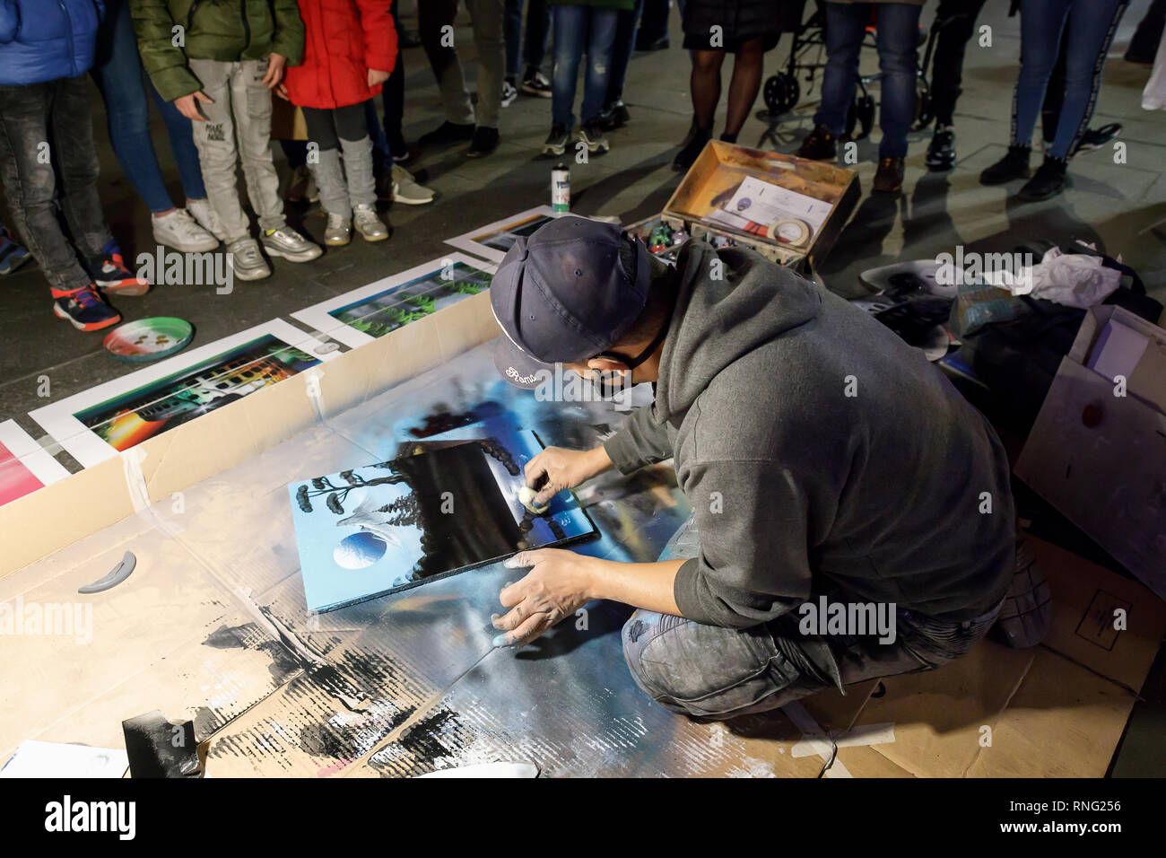 Rome Italy January 1 2019 A Man In The Street Paints A