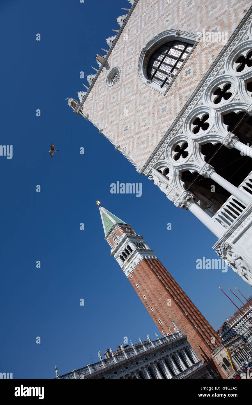 St Mark's Campanile is the bell tower of St Mark's Basilica in Venice, Italy, located in the Piazza San Marco. - Stock Image