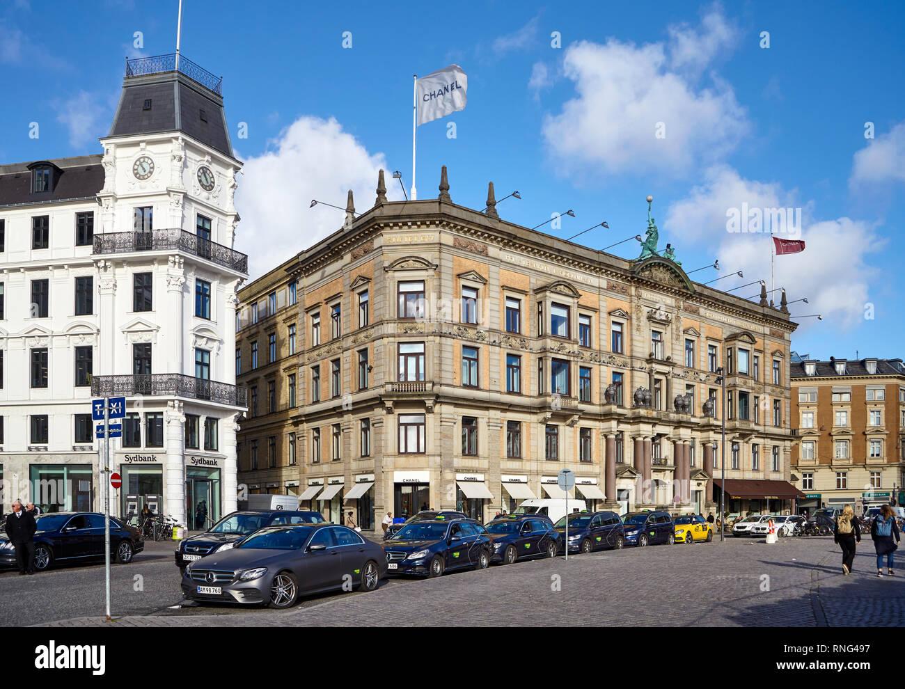 Copenhagen, Denmark - October 22, 2018: Taxi stand in front of CHANEL store at Kongens Nytorv street. - Stock Image