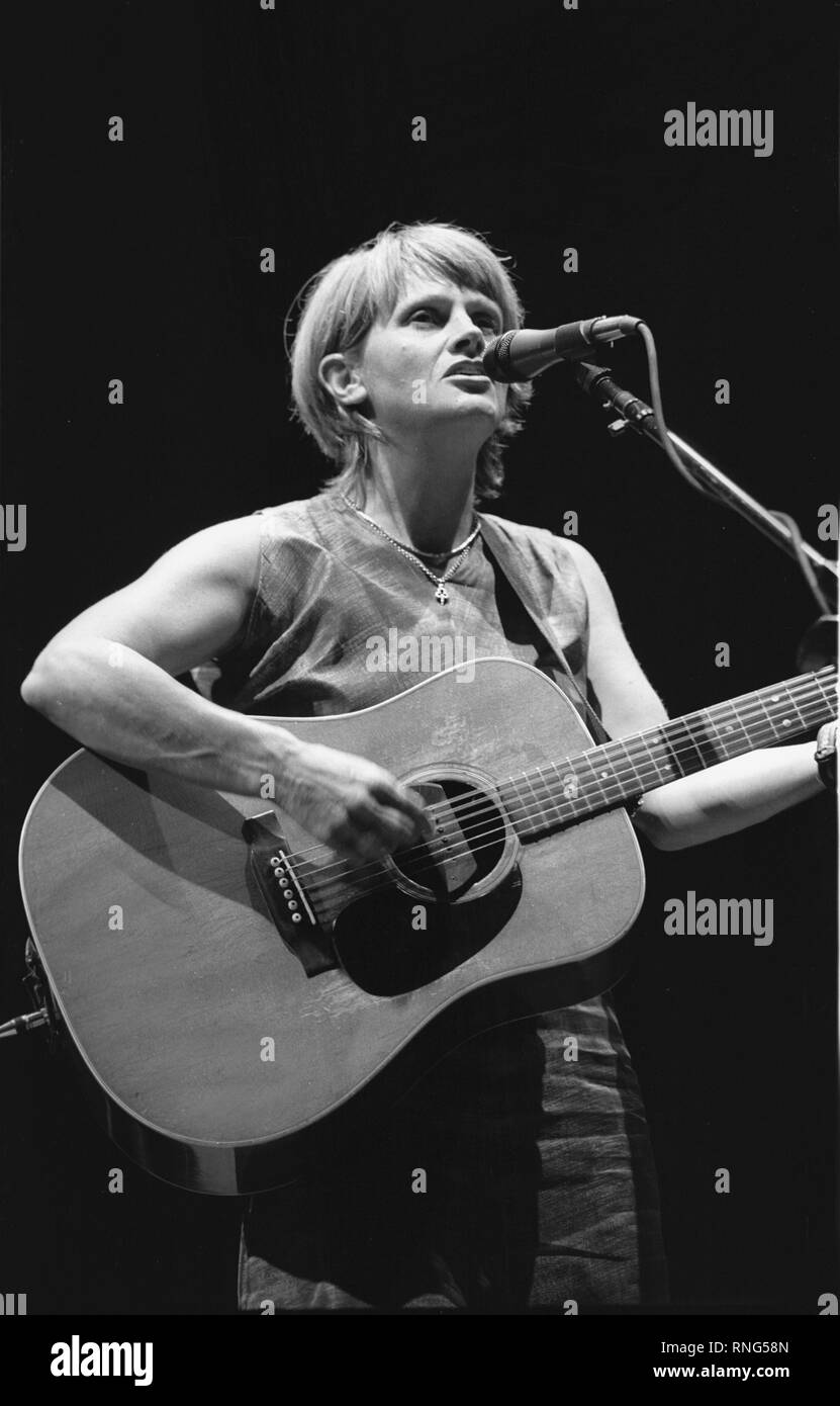 Singer & songwriter Shawn Colvin is shown performing on stage during a 'live' concert appearance. - Stock Image