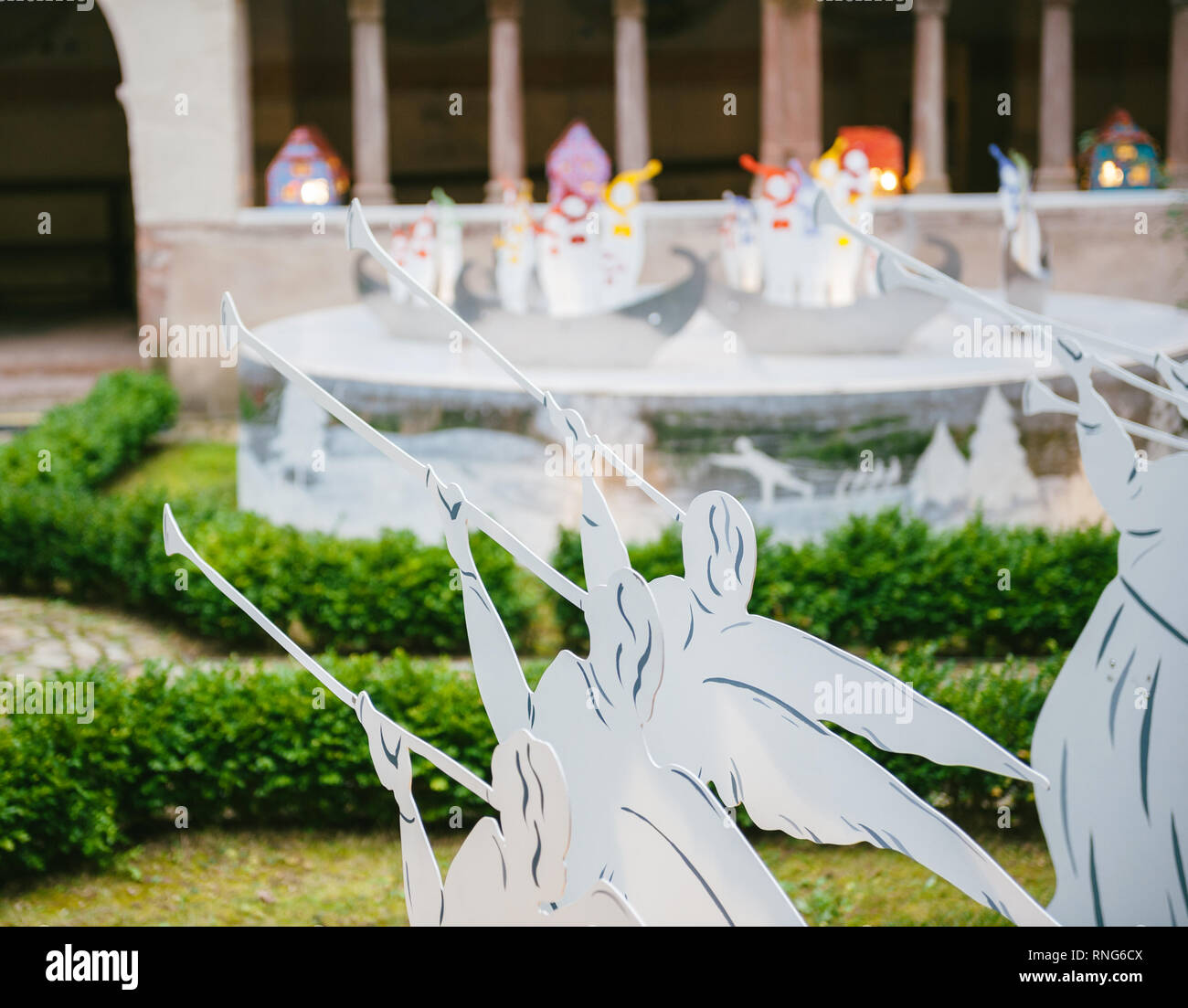Trumpet angels Christmas silhouettes decorations in Strasbourg during winter holidays - Stock Image