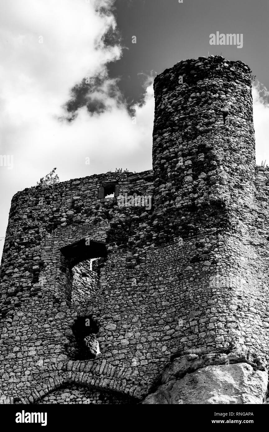 Medieval castle ruin details - Stock Image