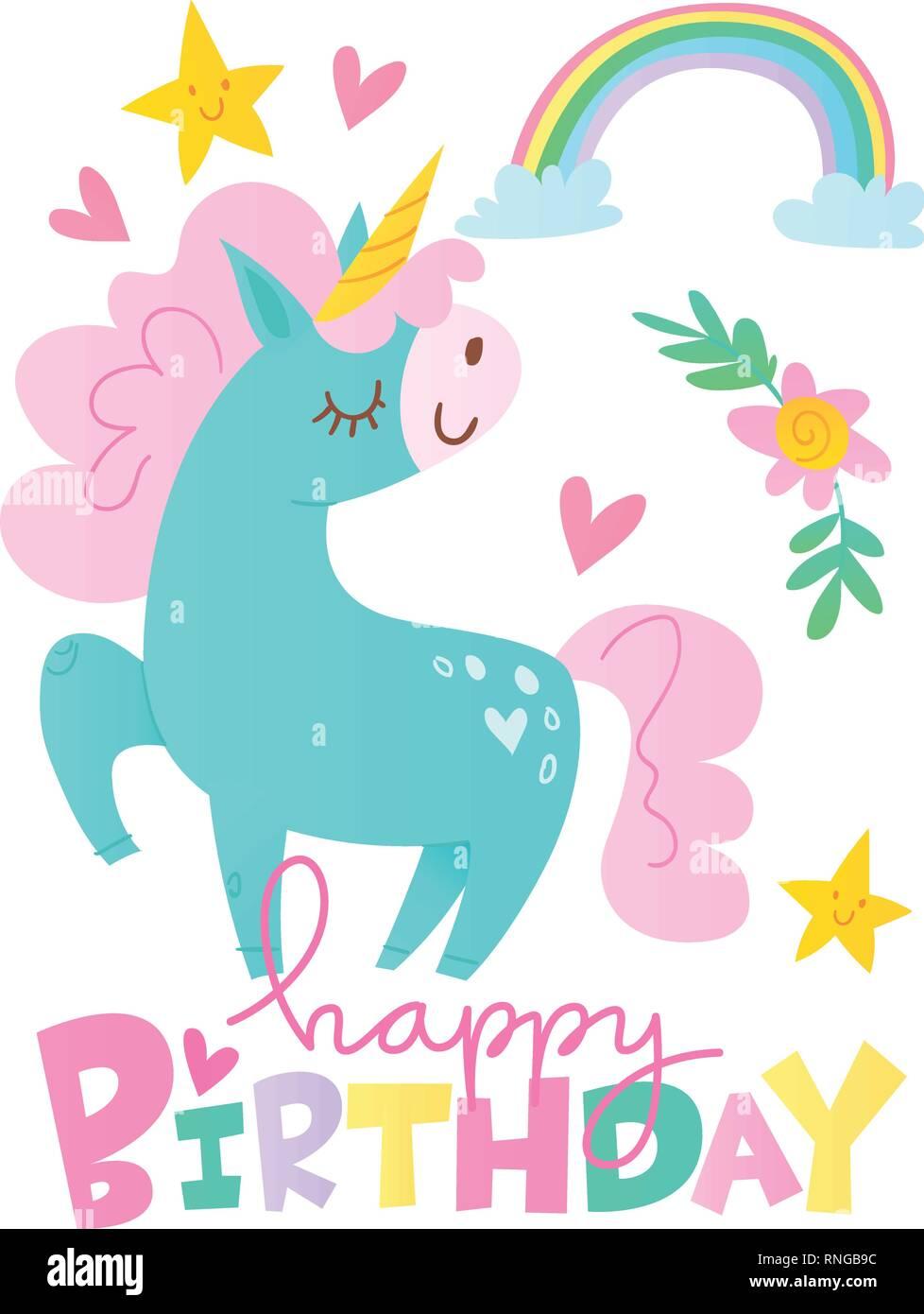 Vector Happy Birthday Cards With Cartoon Unicorn Character