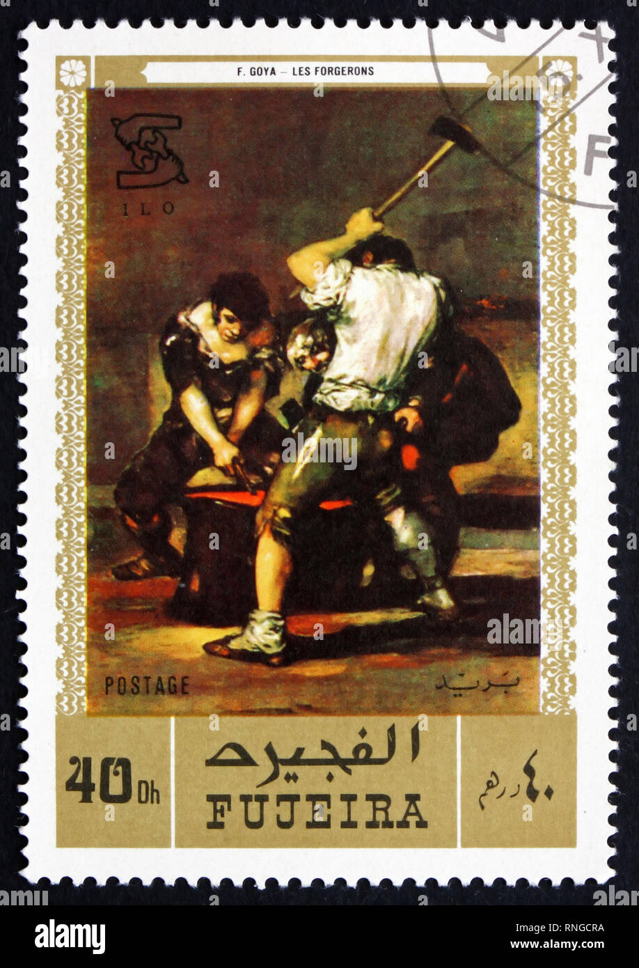 FUJEIRA - CIRCA 1971: a stamp printed in the Fujeira shows The Forge, Painting by Francisco de Goya y Lucientes, Spanish Painter and Printmaker, circa - Stock Image