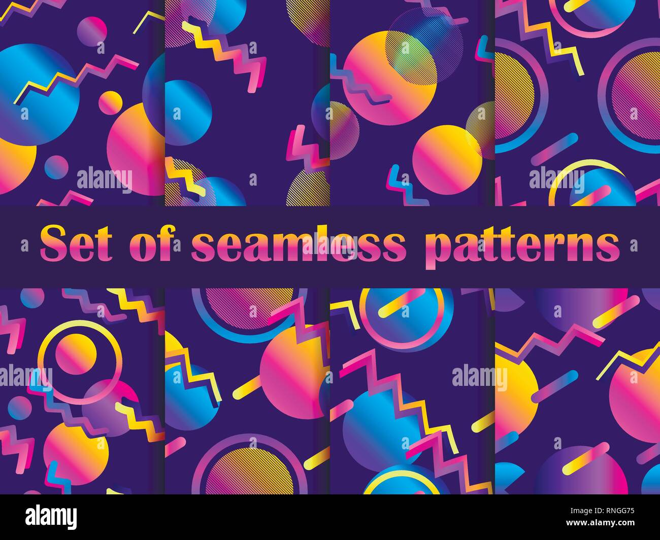 Futurism seamless pattern set  Liquid shape in the style of 80s