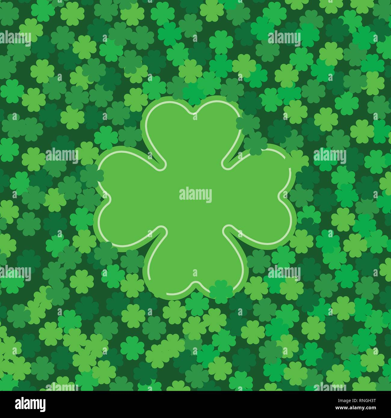 Green Seamless Pattern With Clovers Shamrock Leaves For St