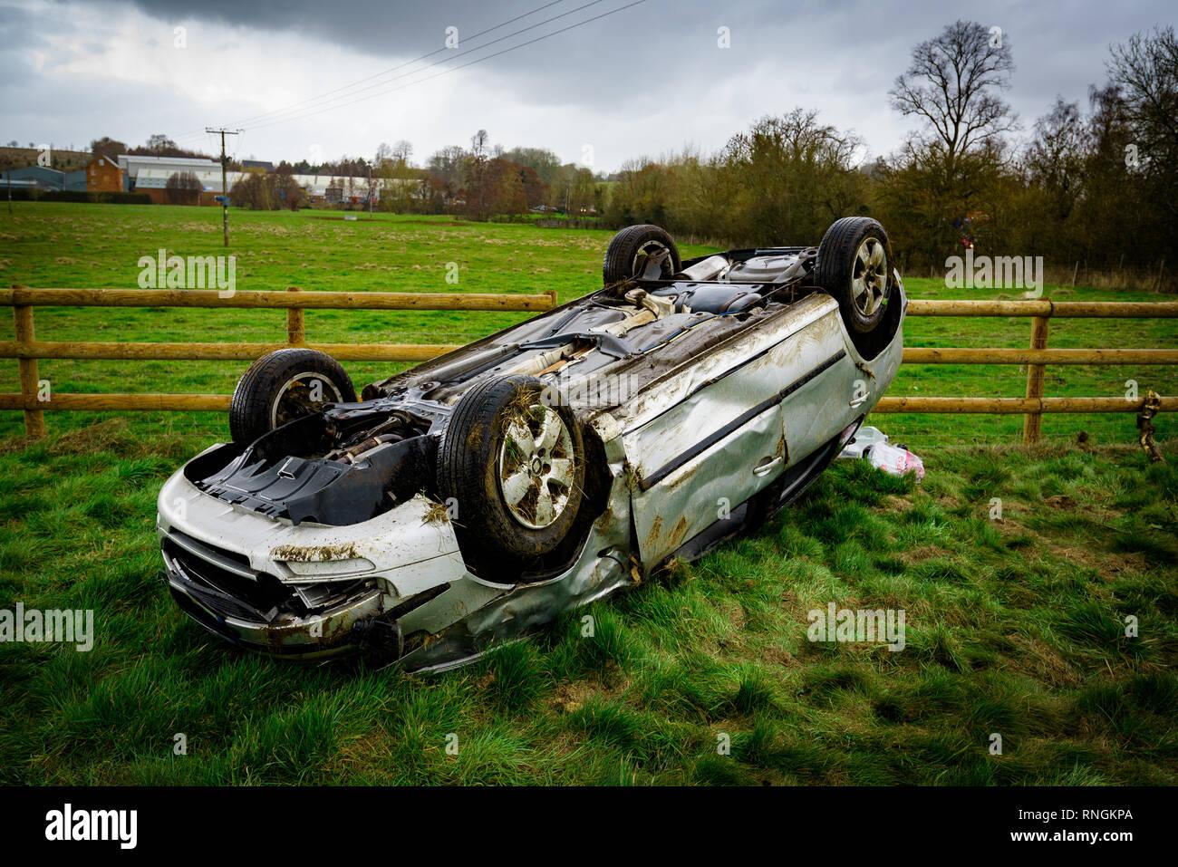 Car Crash and Car Damage  Vehicle crashed through a fence after high