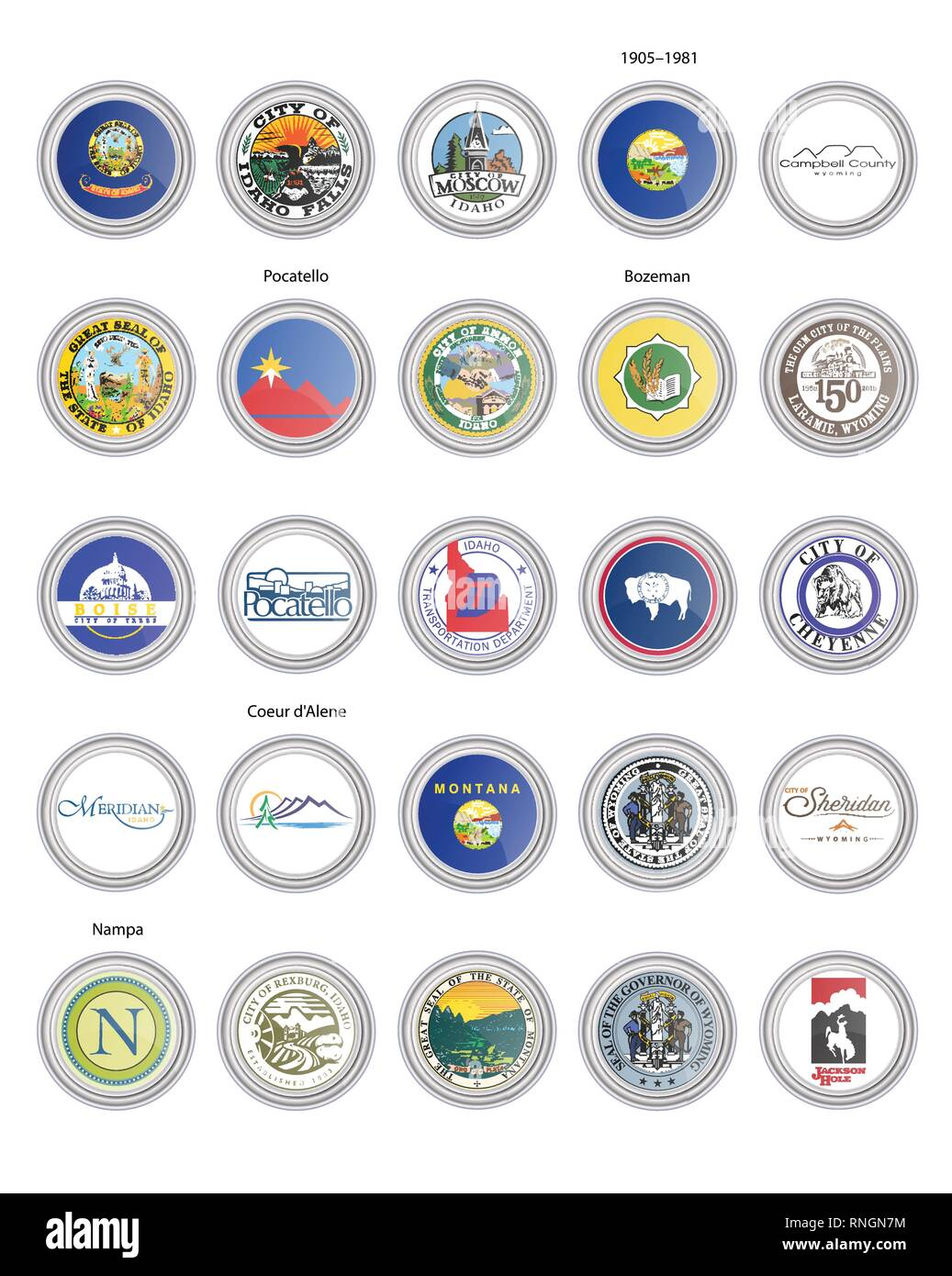 Set of vector icons. Flags and seals of Idaho, Montana and Wyoming states, USA. 3D illustration. - Stock Vector