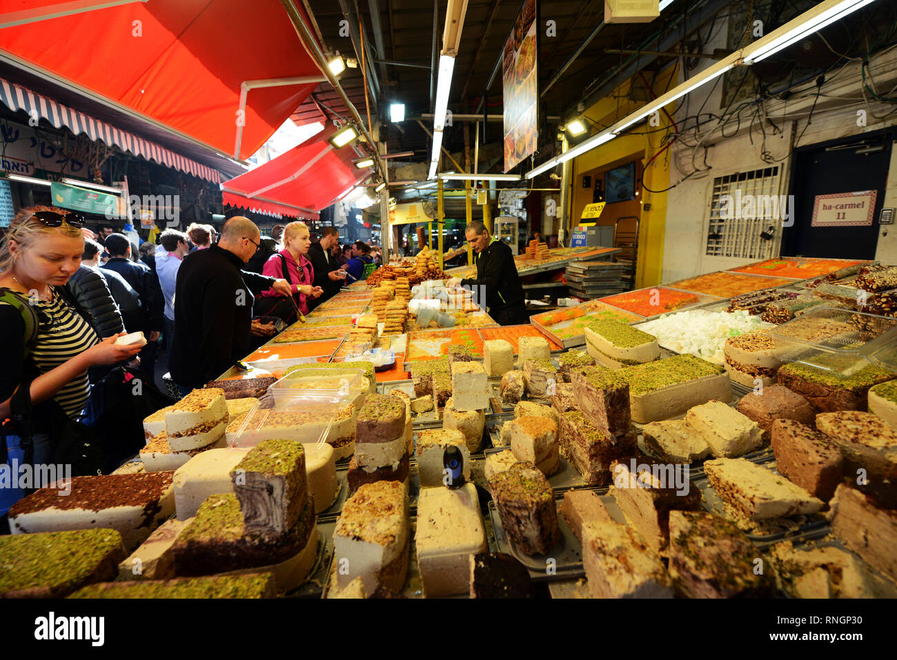 A Halva stall at the Carmel market in Tel-Aviv. - Stock Image