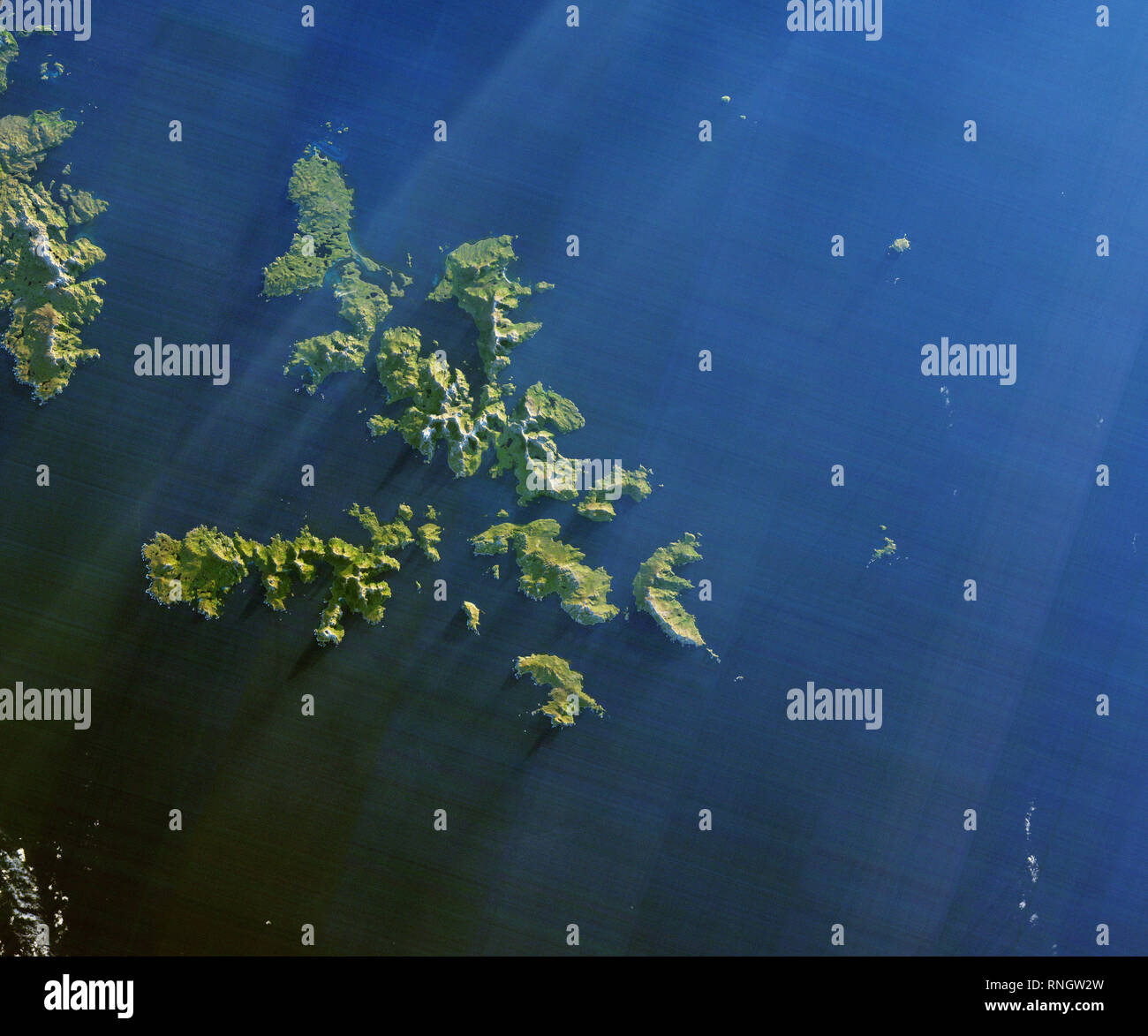 Satellite view of Cape Horn, Tierra del Fuego archipelago of southern Chile Stock Photo