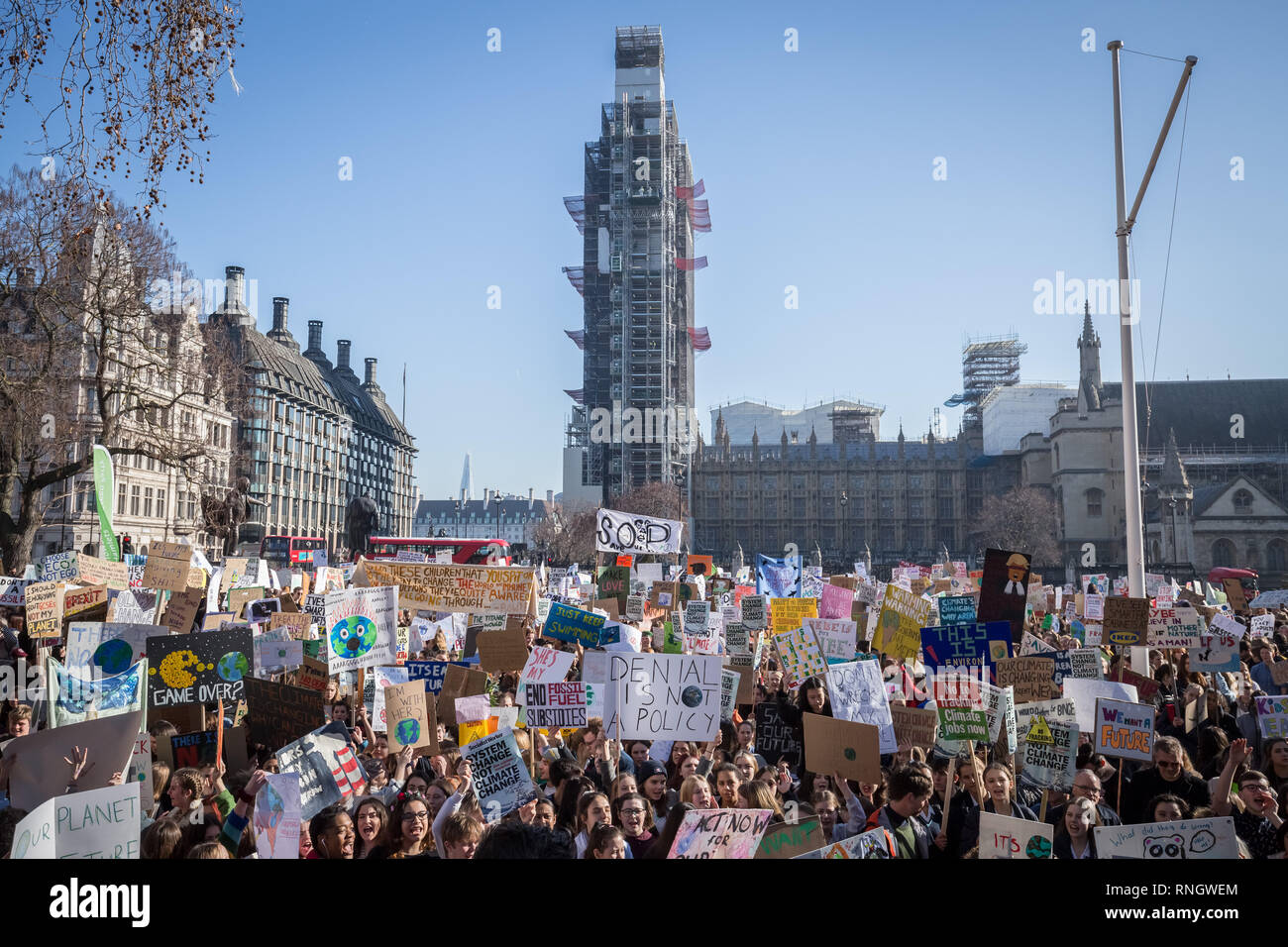 Youth Strike 4 Climate. Thousands of pupils and students walk out from lessons to protest in Westminster as part of a nationwide climate change strike Stock Photo