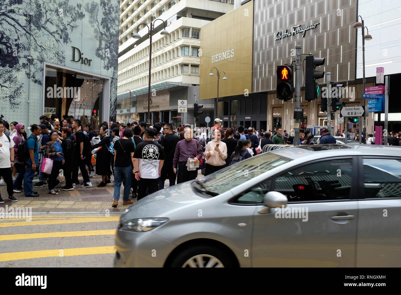 Crowded street in Hong Kong SAR, China - Stock Image