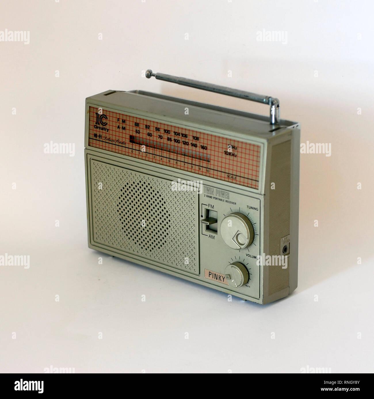 Radio Transistor vintage brand Pinky IC Circuitry. Made in Hong Kong - Stock Image