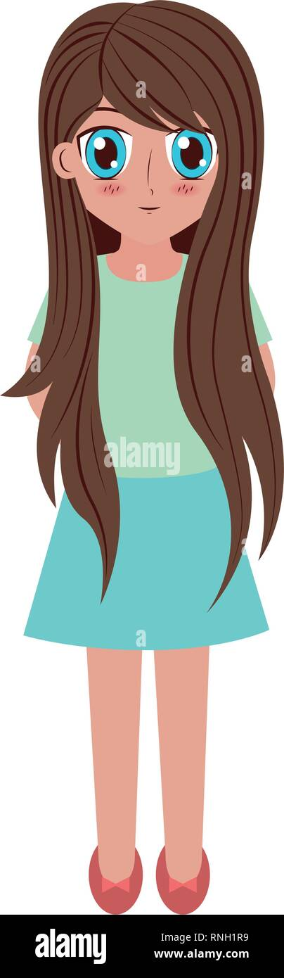 Cartoon Pretty Girl Long Hair High Resolution Stock Photography And Images Alamy