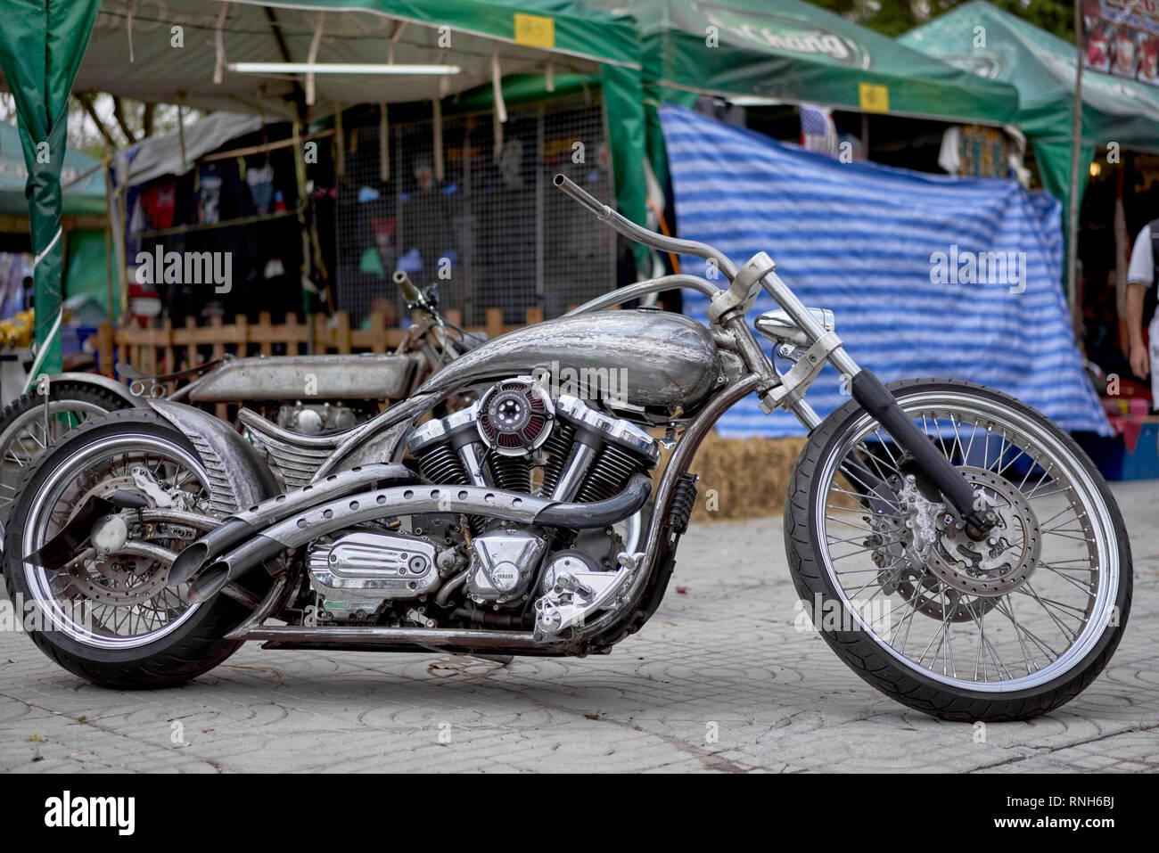 Chopper motorcycle.Yamaha customized motorbike - Stock Image