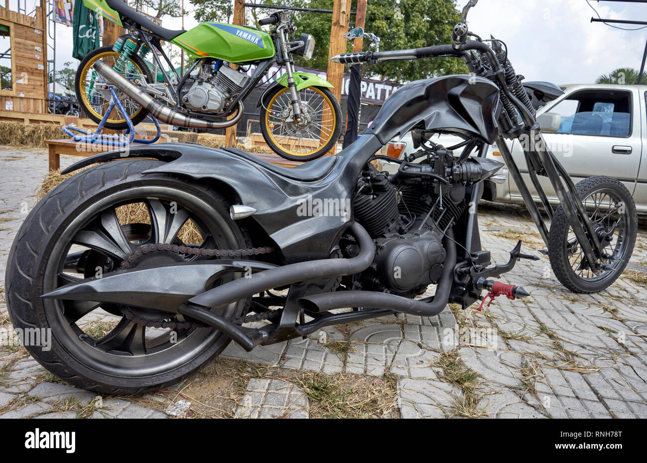 Chopper motorbike. Extreme modification of a Yamaha motorcycle - Stock Image